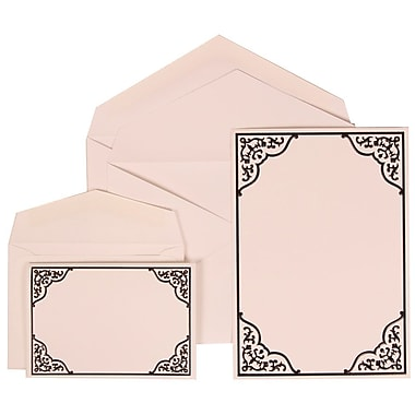 JAM Paper® Wedding Invitation Combo Sets, 1 Sm 1 Lg, White Cards with Black Ornate Border, White Envelopes, (310125090)