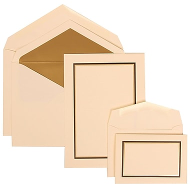 JAM Paper® Wedding Invitation Combo Sets, 1 Sm 1 Lg, Ivory Cards, Black and Gold Border, Gold Lined Envelope, 150/pk (310225096)