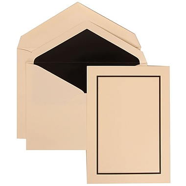 JAM Paper® Wedding Invitation Set, Large, 5.5 x 7.75, Ivory Card with Black Lined Envelopes, 50/pack (310325097)