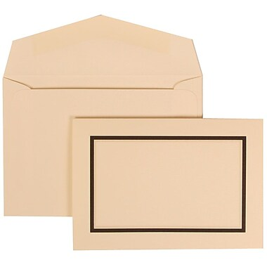 JAM Paper® Wedding Invitation Set, Small, 3 3/8 x 4 3/4, Ivory Cards with Black Border, Ivory Envelopes, 100/pack (310325098)