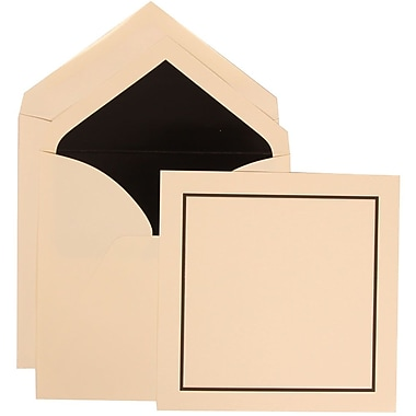 JAM Paper® Wedding Invitation Set, Large Square, 6.25 x 6.25, Ivory with Black Lined Envelopes, 50/pack (310425104)