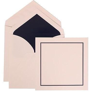 JAM Paper® Wedding Invitation Set, Large Square, 6.25 x 6.25, White Cards, Black Blue Border, Navy Lined Env, 50/pk (310425111)