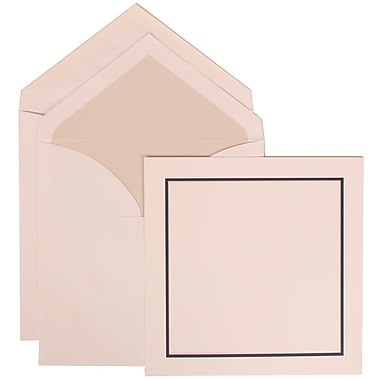 JAM Paper® Wedding Invitation Set, Large Square, 6.25x6.25, White, Black Blue Border, Crystal Lined Envelopes, 50/pk (310425113)