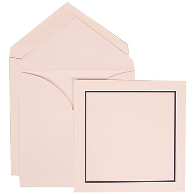 JAM Paper® White Card with White Envelope Large Wedding Invitation Black and Blue Square Border Set, 50/Pack 6 1/4 x 6 1/4