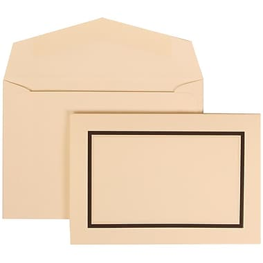 JAM Paper® Wedding Invitation Set, Small, 3 3/8 x 4 3/4, Ivory with Ivory Envelopes and Black Border, 100/pack (310425103)
