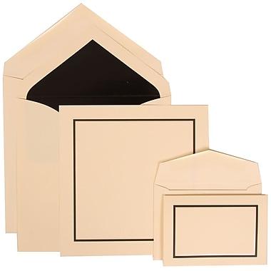 JAM Paper® Wedding Invitation Combo Sets, 1 Sm 1 Lg, Ivory Cards with Black Border, Black Lined Envelopes, 150/pack (310425105)