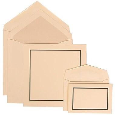 JAM Paper® Wedding Invitation Combo Sets, 1 Sm 1 Lg, Ivory Cards, Black Border, Crystal Lined Envelopes, 150/pack (310425107)