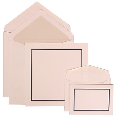 JAM Paper® Wedding Invitation Combo Sets, 1 Sm 1 Lg, White with Black Blue Border, Crystal Lined Envelopes, 150/pack (310425114)