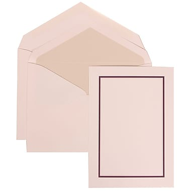 JAM Paper® Wedding Invitation Set, Large, 5.5 x 7.75, White Cards with Purple Border, Crystal Lined Envelopes, 50/pk (310625136)