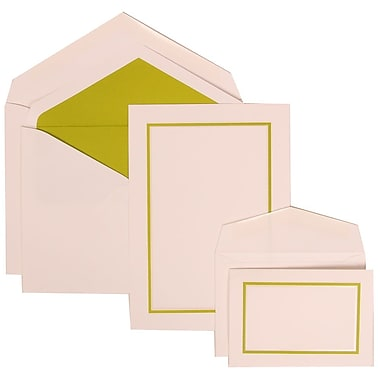 JAM Paper® Wedding Invitation Combo Sets, 1 Sm 1 Lg, White Cards with Green Border, Lime Lined Envelopes, 150/pk (310625122)