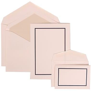 JAM Paper® Wedding Invitation Combo Sets, 1 Sm 1 Lg, White Cards, Navy Blue Border, Crystal Lined Envelopes, 150/pk (310625130)
