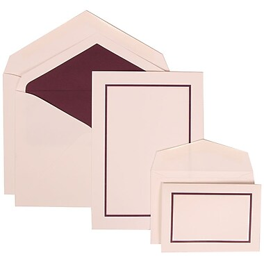 JAM Paper® Wedding Invitation Combo Sets, 1 Sm 1 Lg, White Cards, Purple Border, Purple Lined Envelopes, 150/pack (310625135)