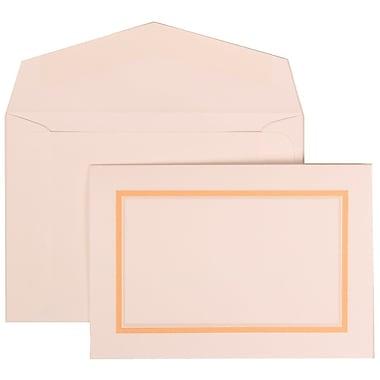 JAM Paper® Wedding Invitation Set, Small, 3 3/8 x 4 3/4, White with White Envelopes and Orange Border, 100/pack (310725145)