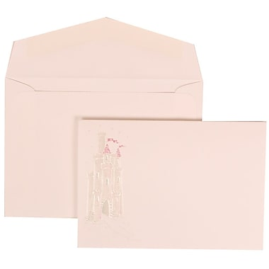 JAM Paper® Wedding Invitation Set, Small, 3 3/8 x 4 3/4, White with White Envelopes and Pink Princess, 100/pack (311625194)
