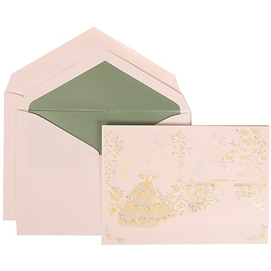 JAM Paper® Wedding Invitation Set, Large, 5.5 x 7.75, Yellow with Sage Green Lined Envelopes, 50/pack (311725204)