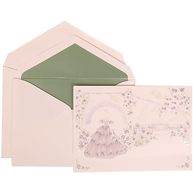 JAM Paper® Wedding Invitation Set, Large, 5.5 x 7.75, Purple, Colorful Princess, Sage Green Lined Envelopes, 50/pack (311725208)