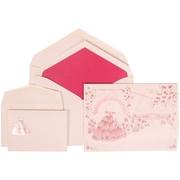 JAM Paper® Wedding Invitation Set Pink Card with Pink Lined Envelope, 150/Pack