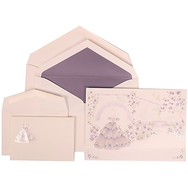 JAM Paper® Wedding Invitation Combo Sets, 1 Sm 1 Lg, White Cards, Purple Princess, Purple Lined Envelopes, 150/pack (311725207)