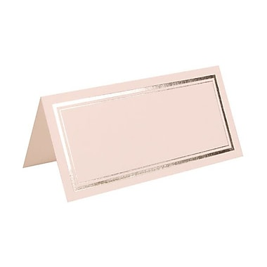 JAM Paper® Foldover Placecards, 2 x 4.25, White with Double Silver Border place cards, 100/pack (312125230)