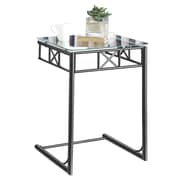 "Monarch Snack Table 18""L x 18""W x 24""H Metal,Glass Black Metal"