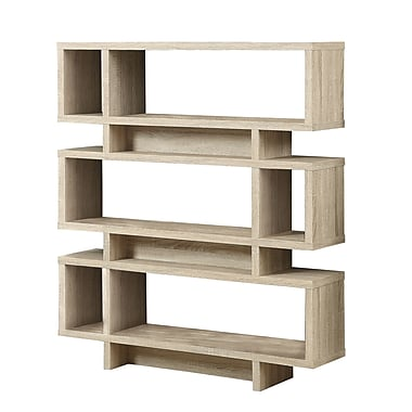 Monarch Wood 55in.H x 47.25in.W x 11.75in.D Book Case  Natural