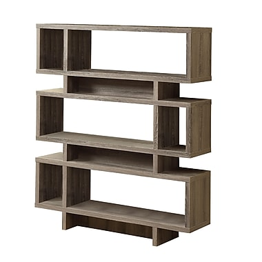 Monarch Wood 55in.H x 47.25in.W x 11.75in.D Book Case  Dark Taupe