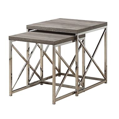 Monarch Reclaimed-Look/Chrome 2-Piece Nesting Tables, Dark Taupe