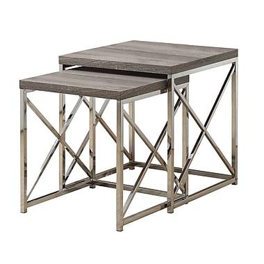 Monarch – Ensemble de 2 tables gigognes métal chromé/bois vieilli, taupe foncé