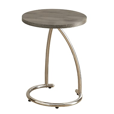 Monarch Reclaimed-Look/Chrome Metal Accent Table, Dark Taupe (I 3259)