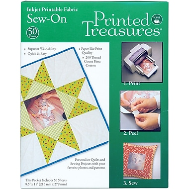 Dritz® Printed Treasures Sew-On Ink Jet Fabric Sheets, 8-1/2