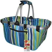 "JanetBasket Blue Stripes Large Aluminum Frame Basket, 18""X10""X9-1/2"""