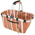 JanetBasket Brown Stripes Large Aluminum Frame Basket, 18in.X10in.X9-1/2in.