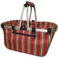 JanetBasket Red Stripes Large Aluminum Frame Basket, 18in.X10in.X9-1/2in.