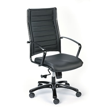 Eurotech Seating LE111TNM Europa Leather Mid-Back Executive Chair with Fixed Arms, Black