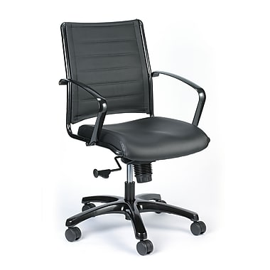 Eurotech Seating LE222TNM Europa Leather Mid-Back Executive Chair with Fixed Arms, Black