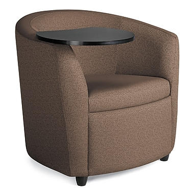 Global Sierna Reception Club Chair With Black Tablet Work Surface, Sepia