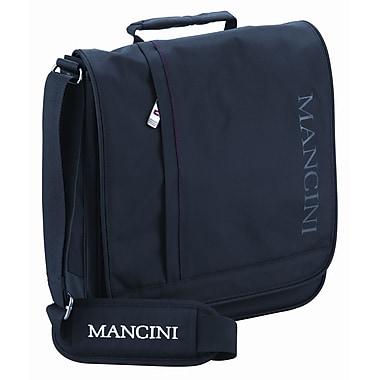 Mancini - Sac à rabat unisexe pour ordi portatif/tablette, avec poche sécurisée RFID de 10.1 po, noir