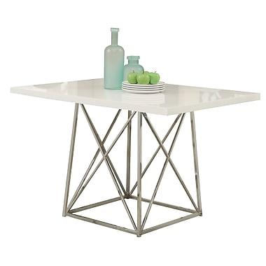 Monarch – Table à manger de 36 po x 48 po, métal chromé/lustré, blanc