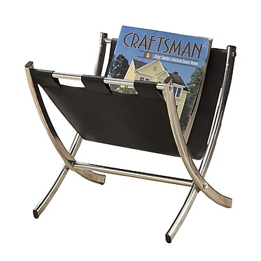 Monarch Leather-Look/Chrome Metal Magazine Rack, Black
