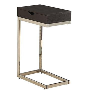 Monarch Chrome Metal Accent Table With A Drawer, Cappuccino