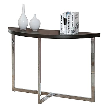 Monarch Chrome Metal Sofa Console Table, Cappuccino