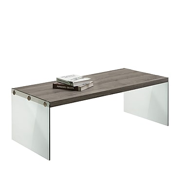 Monarch Reclaimed-Look/Tempered Glass Coffee Table, Dark Taupe