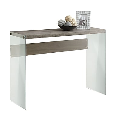 Monarch Reclaimed-Look/Tempered Glass Console Table, Dark Taupe