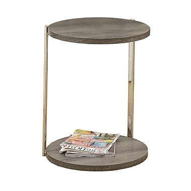 Monarch Reclaimed-Look/Chrome Metal Accent Table, Dark Taupe (I 3252)
