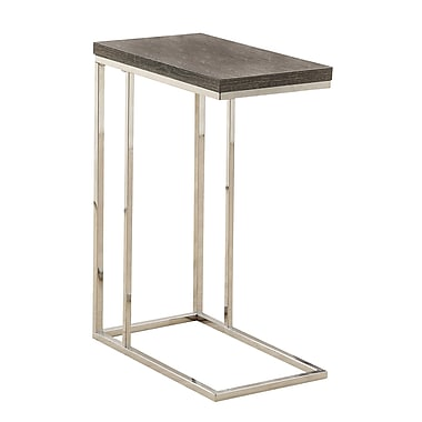 Monarch Reclaimed-Look/Chrome Metal Accent Table, Dark Taupe (I 3253)