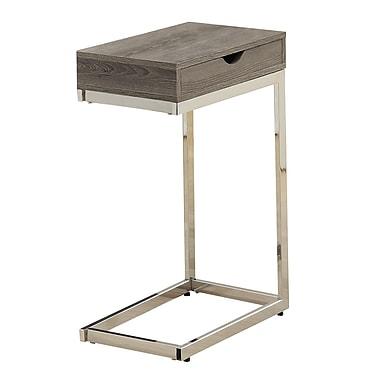 Monarch – Table d'appoint métal chromé/bois vieilli, taupe foncé (I 3254)