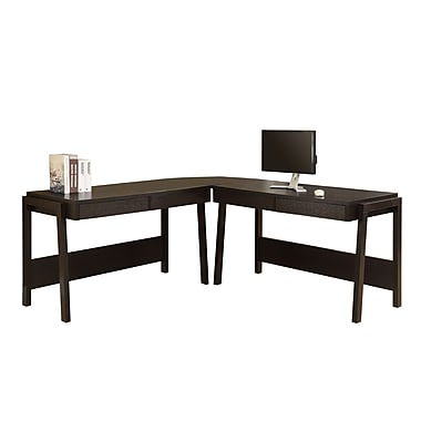 Monarch L-Shape Desk Workstation, Cappuccino