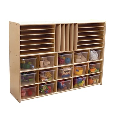 Wood Designs™ Contender™ Fully Assembled Multi-Storage With 15 Translucent Trays, Baltic Birch