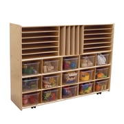 Wood Designs™ Contender™ Assembled Multi-Storage W/15 Translucent Trays and Casters, Baltic Birch