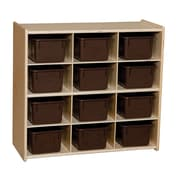 """Wood Designs™ Contender™ 27 1/4""""H Assembled 12 Cubby Storage Unit With Chocolate Tubs, Baltic Birch"""